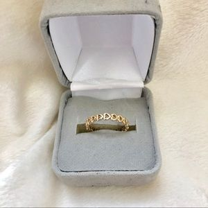14K GOLD Linked Love Pandora Ring Sz 6